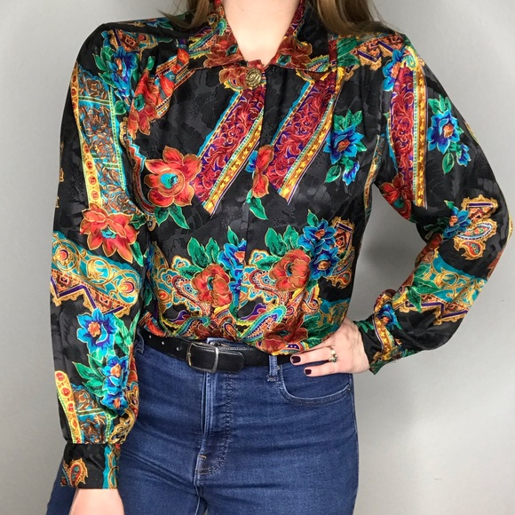 Vintage Floral Rainbow Button Down Long Sleeve Top